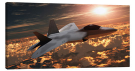 Lienzo  An F-22 fighter jet flies at an altitude above the cloud layer on its mission. - Corey Ford