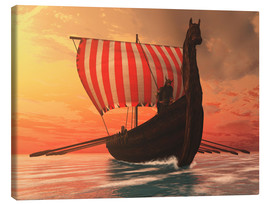 Lienzo  A Viking longboat sails to new shores - Corey Ford
