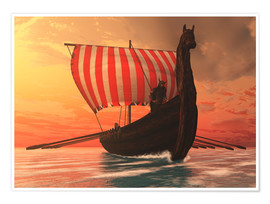 Póster  A Viking longboat sails to new shores - Corey Ford