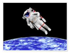 Póster Astronaut floating in outer space above planet Earth.