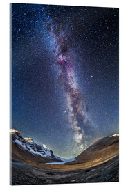 Cuadro de metacrilato  Milky Way over the Columbia Icefields in Jasper National Park, Canada. - Alan Dyer