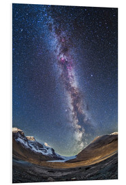 Cuadro de PVC  Milky Way over the Columbia Icefields in Jasper National Park, Canada. - Alan Dyer