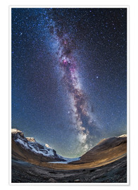 Póster  Milky Way over the Columbia Icefields in Jasper National Park, Canada. - Alan Dyer