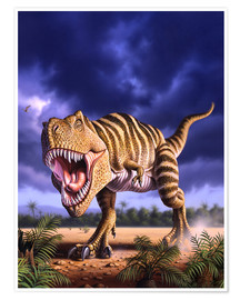 Póster  A Tyrannosaurus Rex attacks, lit by the late afternoon sun. - Jerry LoFaro
