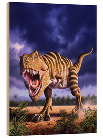 Cuadro de madera  A Tyrannosaurus Rex attacks, lit by the late afternoon sun. - Jerry LoFaro