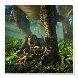 Póster  A baby Tyrannosaurus Rex roars while safely standing between it's mother's legs. - Jerry LoFaro