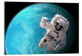 Cuadro de metacrilato  Artist's concept of an astronaut floating in outer space by a water covered planet. - Marc Ward