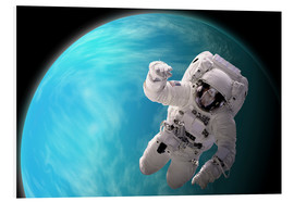 Cuadro de PVC  Artist's concept of an astronaut floating in outer space by a water covered planet. - Marc Ward