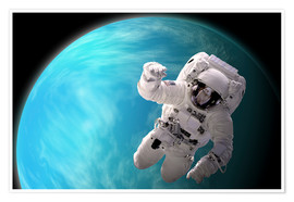 Póster Artist's concept of an astronaut floating in outer space by a water covered planet.