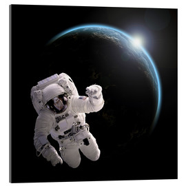 Cuadro de metacrilato  Astronaut floating in space as the sun rises on to Earth-like planet. - Marc Ward