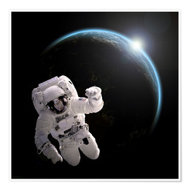 Póster  Astronaut floating in space as the sun rises on to Earth-like planet. - Marc Ward