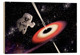 Cuadro de madera  Artist's concept of an astronaut falling towards a black hole in outer space. - Marc Ward