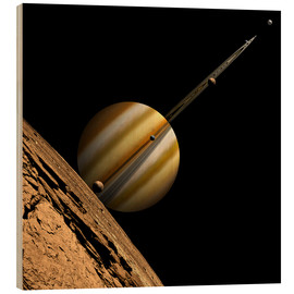 Cuadro de madera  An artist's depiction of a ringed gas giant planet with six moons. - Marc Ward