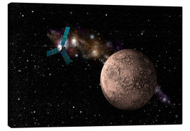 Lienzo  A probe investigating a heavily cratered moon in deep space. - Marc Ward