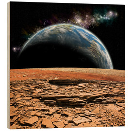 Cuadro de madera  An Earth-like planet rises over a rocky and barren alien moon. - Marc Ward