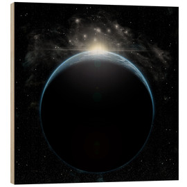 Cuadro de madera  Artist's depiction of a star breaking the horizon of an Earth-like planet. - Marc Ward