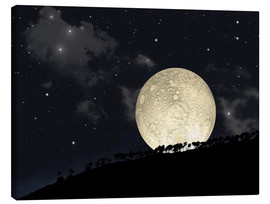 Lienzo  A full moon rising behind a row of hilltop trees. - Marc Ward