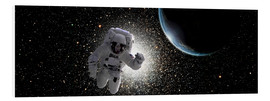 Cuadro de PVC  Astronaut floating in deep space with an Earth-like planet in background. - Marc Ward