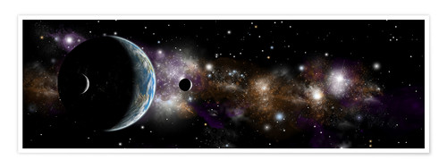 Póster An Earth-like planet with a pair of moons in orbit.