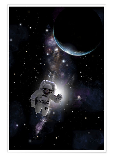 Póster Artist's concept of an astronaut floating in outer space.