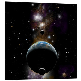 Cuadro de PVC  An Earth type world with two moons against a background of nebula and stars. - Marc Ward