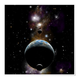 Póster An Earth type world with two moons against a background of nebula and stars.