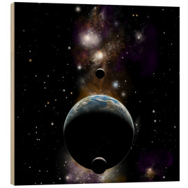 Cuadro de madera  An Earth type world with two moons against a background of nebula and stars. - Marc Ward