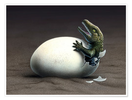 Póster  An early dinosaur ancester, Seymouria, hatches from an egg. - Jerry LoFaro