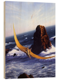 Cuadro de madera  A Pteranodon soars above the ocean and rocks. - Jerry LoFaro