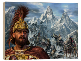 Cuadro de madera  Portrait of Hannibal and his troops crossing the Alps. - Kurt Miller