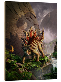 Madera  A Stegosaurus is surprised by an Allosarous while feeding in a lush gorge. - Jerry LoFaro