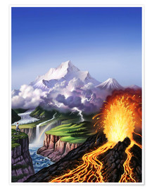 Póster  A montage of Earth's features including a volcano, river, storm and mountains. - Jerry LoFaro