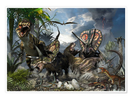 Póster A family of Torosaurus protecting their eggs from a pair of Tyrannosaurus rex.