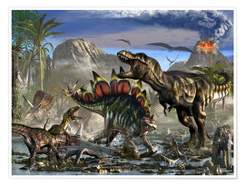 Póster  Stegosaurus defending himself from T-Rex and some Utahraptors. - Kurt Miller