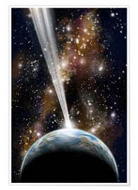 Póster An Earth-like planet facing an imminent collision with a comet.