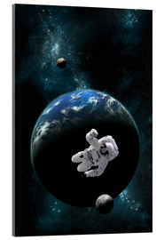Cuadro de metacrilato  An astronaut floating in front of a water covered world with two moons. - Marc Ward