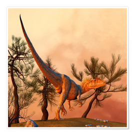 Póster Allosaurus, a large theropod dinosaur from the late Jurassic period.