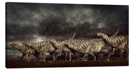 Lienzo  A group of Iguanodons struggle through a storm. - Philip Brownlow