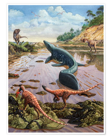 Póster Raptors attack a vulnerable Mosasaurus that remained aground at low tide.
