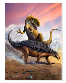 Póster Confronation between a Neovenator and a Polacanthus armored dinosaur.
