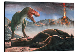 Cuadro de aluminio  A volcanic eruption destroys the hunting grounds of Tyrannosaurus Rex. - Sergey Krasovskiy