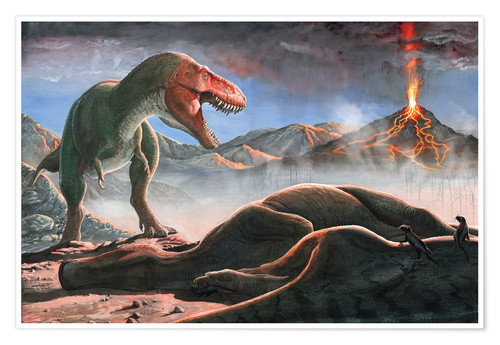 Póster A volcanic eruption destroys the hunting grounds of Tyrannosaurus Rex.