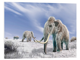 Cuadro de PVC  Two Woolly Mammoths in a snow covered field with a few bison. - Leonello Calvetti