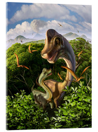 Cuadro de metacrilato  A Brachiosaurus with young above the treetops, surrounded by pterodactyls. - Jerry LoFaro