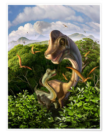Póster  A Brachiosaurus with young above the treetops, surrounded by pterodactyls. - Jerry LoFaro