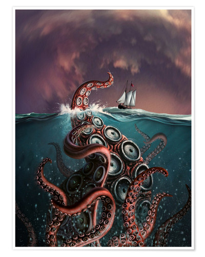 Póster A fantastical depiction of the legendary Kraken.