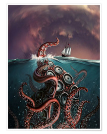Póster  A fantastical depiction of the legendary Kraken. - Jerry LoFaro