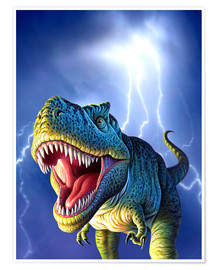Póster  T.Rex in the storm - Jerry LoFaro