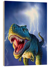 Cuadro de madera  T.Rex in the storm - Jerry LoFaro