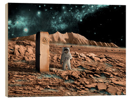 Cuadro de madera  Astronaut on an alien world discovers an artifact that indicates past intelligent life. - Marc Ward